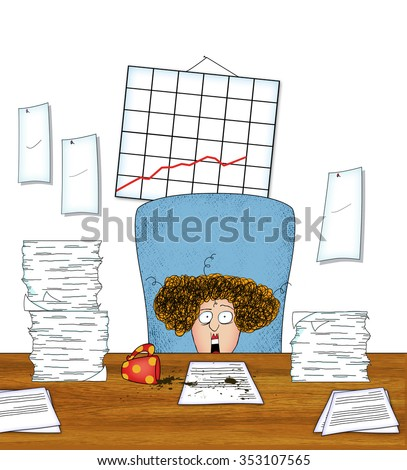Humorous cartoon of an overworked business woman with spilled coffee and piles of paper