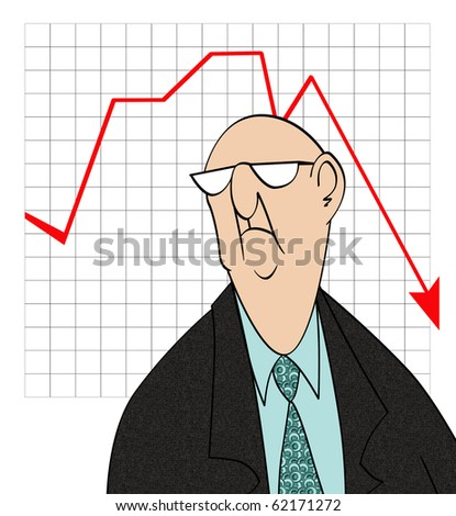 Humorous cartoon of an unhappy businessman in front of a bad sales chart - stock photo