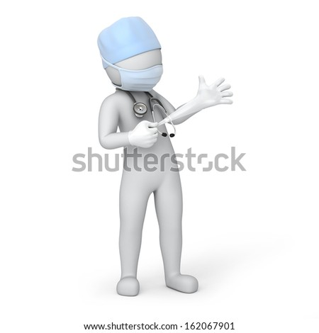 humorous doctor pulls a glove. image with a work path
