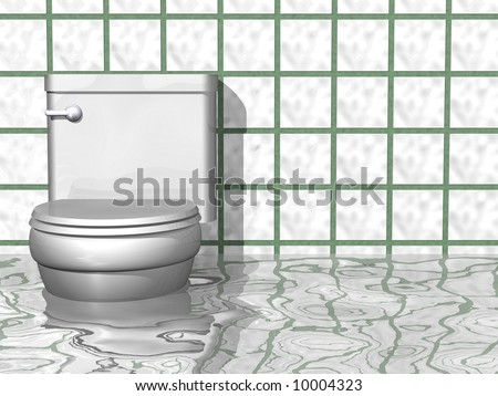 Humorous flooded bathroom scene - stock photo