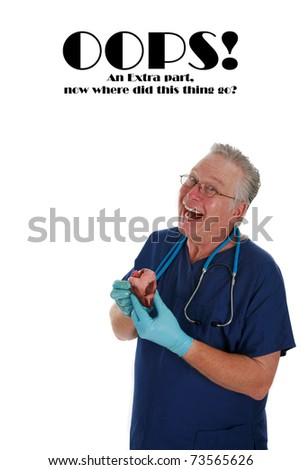 """humorous image of a Cardiac Surgeon who forgot where that pesky """"Extra"""" part namely the Human Heart goes! - stock photo"""