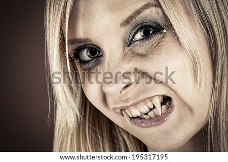 humorous portrait of a vampire with fangs