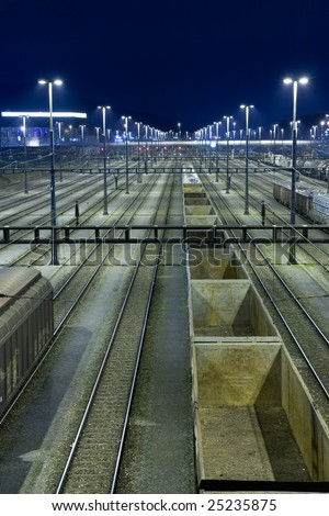 hump yard station in the night - stock photo
