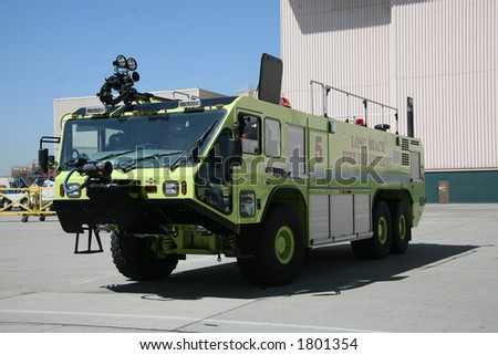 Humvee Firetruck Yellow Long Beach Fire Department - stock photo
