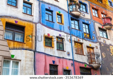 Hundertwasser house, colorful facade fragment, one of the most popular landmark of Vienna, Austria