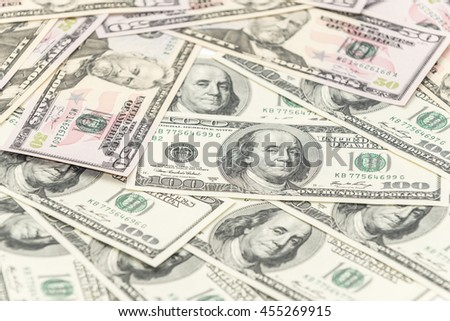 Hundred and fifty dollars banknotes as background