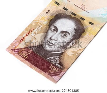 Hundred bolivares banknote - stock photo