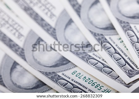 Hundred cash dollars banknote closeup, money background - stock photo