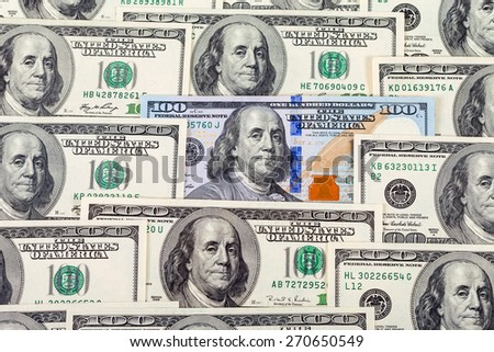 Hundred cash dollars banknote closeup, money background