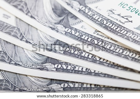 Hundred cash dollars banknote closeup, money background. Business concept. Selective focus, blurred background - stock photo