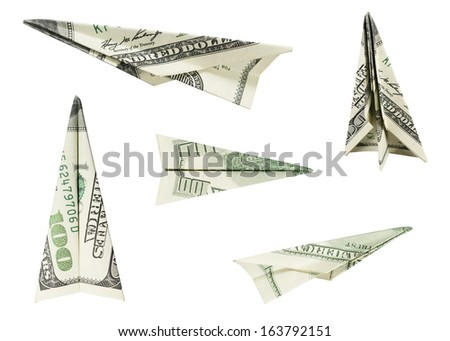 Hundred Dollar Airplanes (with clipping path) - stock photo