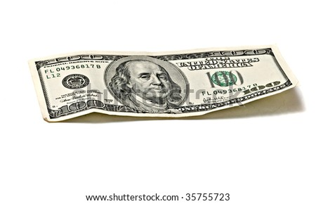 Hundred dollar banknote isolated on white background - stock photo