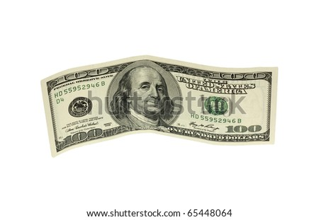 hundred dollar banknote,isolated on white with clipping path. - stock photo