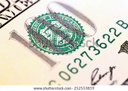 Hundred dollar banknote, macro view - stock photo