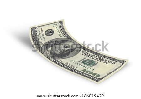 hundred dollar banknote on white background  - stock photo