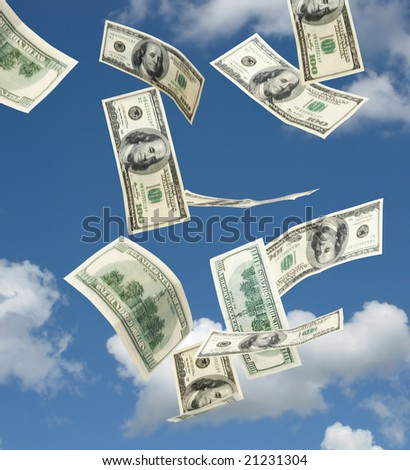 hundred dollar banknotes falling from the blue sky - stock photo