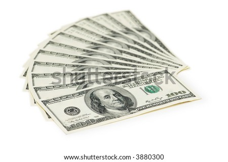 Hundred dollar banknotes isolated on the white