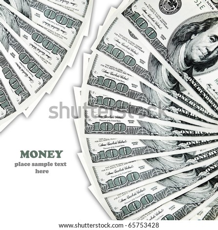hundred dollar banknotes isolated on white, conceptual image of money making - stock photo