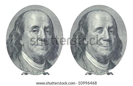 Hundred dollar. Benjamin Franklin and Benjamin Franklin blinking at you. - stock photo