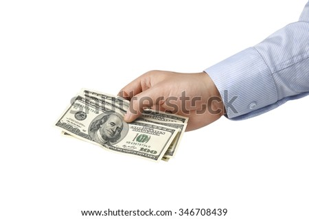 hundred-dollar bill in his hands isolated on white background