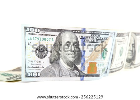 Hundred dollar bill isolated on a white background. - stock photo