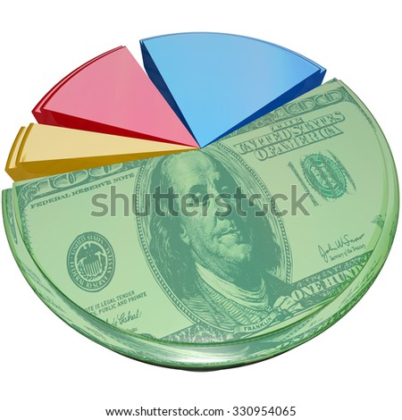 Hundred dollar bill money on a 3d isolated pie chart to illustrate profit margin or percent share of cost or revenue - stock photo