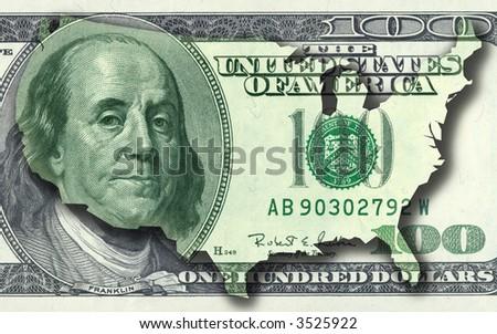 Hundred dollar bill. USA money contour map. - stock photo