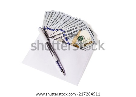 Hundred dollar bills are in an open envelope, top pen isolated on white background - stock photo