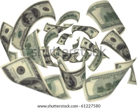 Hundred dollar bills falling on white background - stock photo