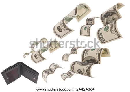 Hundred dollar bills flee from black leather wallet isolated on white