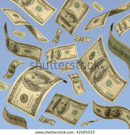 Hundred-dollar bills floating against a blue sky. - stock photo