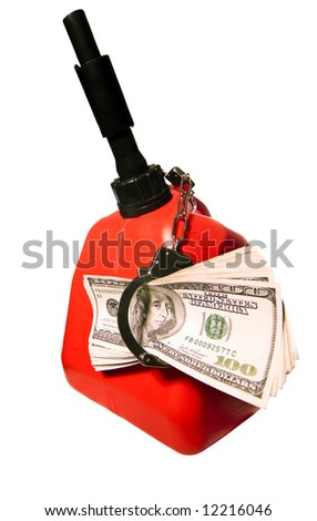 Hundred Dollar Bills Handcuffed to a Gas Can - stock photo