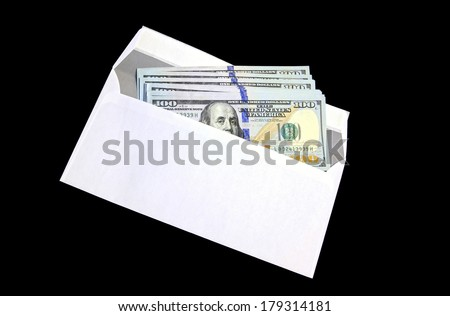 Hundred dollar bills in a white envelope on a black background - stock photo