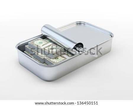 Hundred dollar bills in an open tin can - stock photo