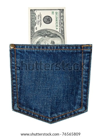 hundred-dollar bills in jeans pocket isolated on white - stock photo