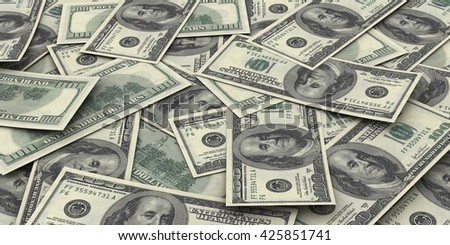 Hundred dollar bills money pile. Sharp high resolution 3d render. - stock photo