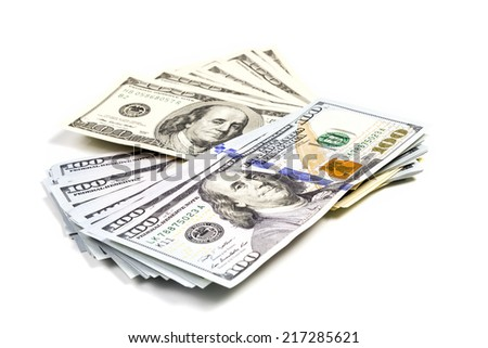 Hundred dollar bills old and new pattern put shifted stack isolated on white background