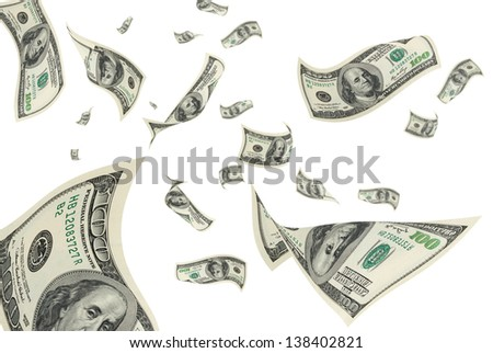 Hundred-dollar bills on a white background. - stock photo