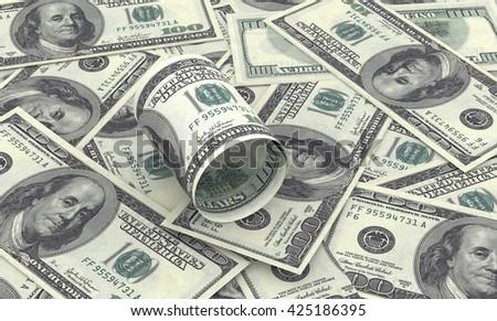 Hundred dollar bills on top of money pile. 3d rendering - stock photo