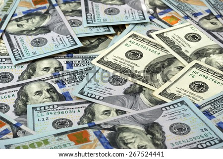 Hundred-Dollar bills. Paper money background - stock photo