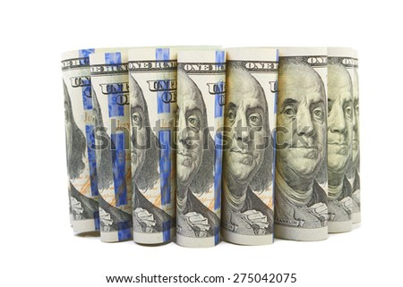 Hundred dollar bills Portrait of Benjamin Franklin - stock photo