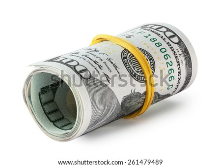 Hundred-dollar bills rolled into a roll isolated on white background - stock photo
