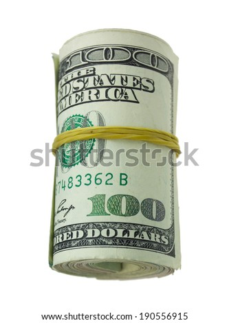 Hundred dollar bills rolled up with rubber band isolated on white
