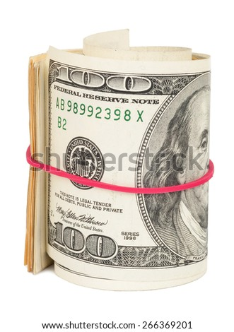 Hundred dollar bills rolled up with rubberband - stock photo