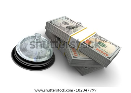 Hundred dollar bills stack and desk bell illustration isolated on white background - stock photo
