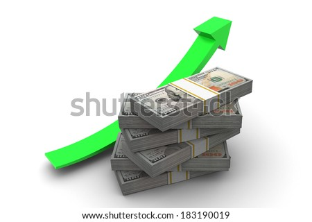 Hundred dollar bills stack and up arrow illustration isolated on white background