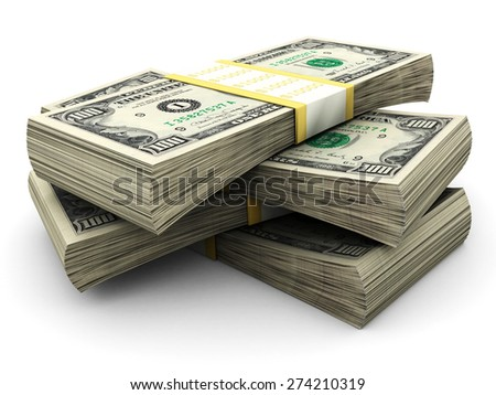 Hundred dollar bills stacks isolated - stock photo