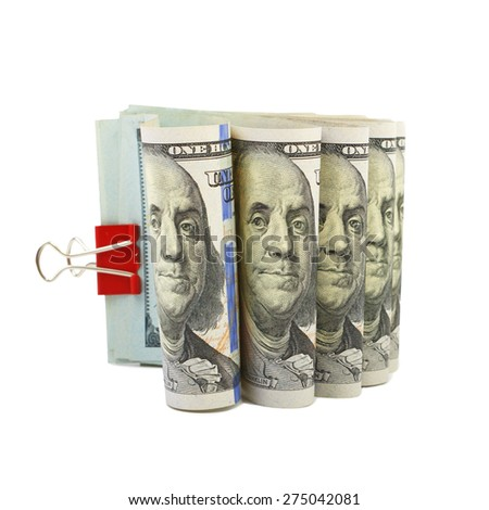 Hundred dollar bills stapled red clothespin - stock photo