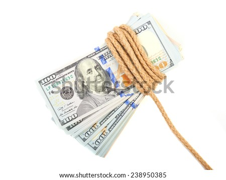 Hundred-dollar bills tied with a rope isolated on white. - stock photo