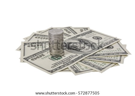 hundred dollars banknotes fanned out isolated
